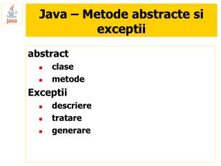 Java – Metode abstracte si exceptii