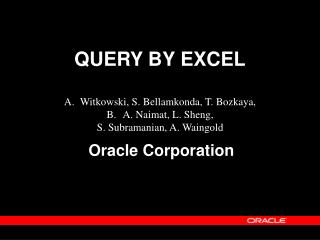 QUERY BY EXCEL
