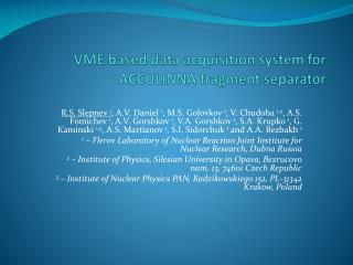 VME based data acquisition system for ACCULINNA fragment separator