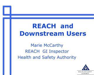 REACH  and   Downstream Users