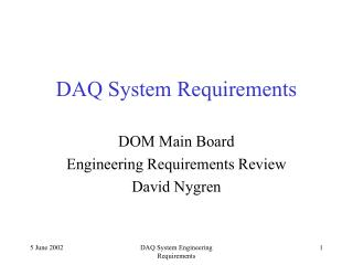 DAQ System Requirements