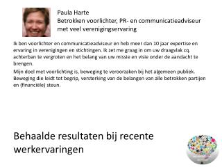 Paula Harte Betrokken voorlichter, PR- en communicatieadviseur met veel verenigingservaring