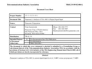 Telecommunications Industry AssociationTR41.3.9-09-02-006-L