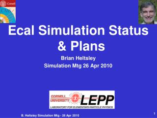 Ecal Simulation Status & Plans Brian Heltsley Simulation Mtg 26 Apr 2010