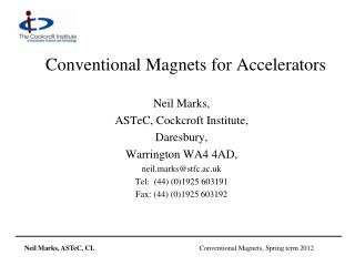 Conventional Magnets for Accelerators