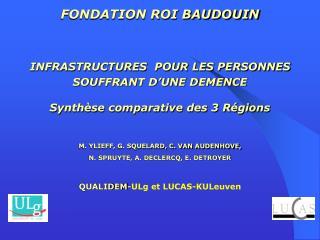FONDATION ROI BAUDOUIN INFRASTRUCTURES  POUR LES PERSONNES SOUFFRANT D'UNE DEMENCE
