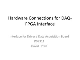 Hardware Connections for DAQ-FPGA Interface