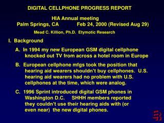 DIGITAL CELLPHONE PROGRESS REPORT                                HIA Annual meeting