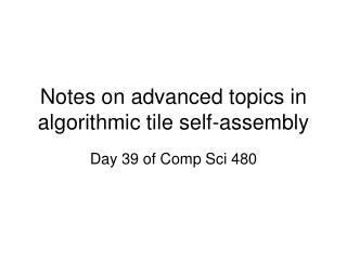 Notes on advanced topics in algorithmic tile self-assembly