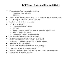 DFI Team - Roles and Responsibilities