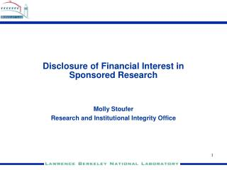 Disclosure of Financial Interest in Sponsored Research