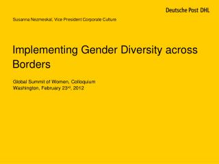 Implementing Gender Diversity across Borders