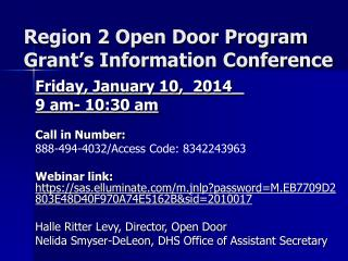 Region  2  Open Door Program Grant's Information Conference