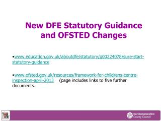 New DFE Statutory Guidance  and OFSTED Changes