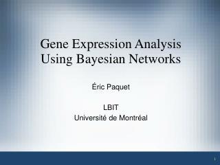 Gene Expression Analysis Using Bayesian Networks