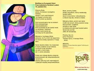 Modlitwa na Europejski Dzień Przeciwdziałania Handlowi Ludźmi 18. października  Wieczny Boże,