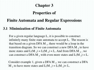 Chapter 3 Properties of Finite Automata and Regular Expressions
