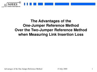 Why is the One-Jumper  Reference Method So Important?