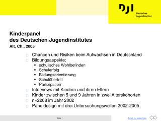 Kinderpanel des Deutschen Jugendinstitutes  Alt, Ch., 2005