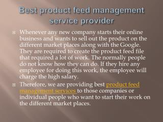 Product Feed Management