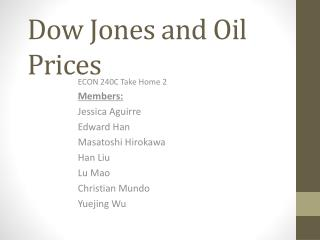 Dow Jones and Oil Prices
