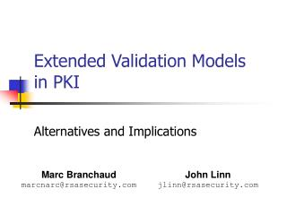 Extended Validation Models in PKI