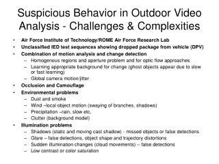 Suspicious Behavior in Outdoor Video Analysis - Challenges & Complexities
