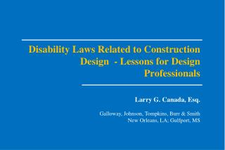 Disability Laws Related to Construction Design  - Lessons for Design Professionals