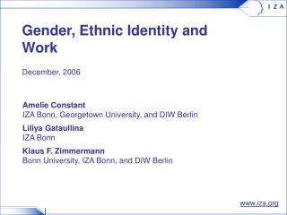 Gender, Ethnic Identity and Work