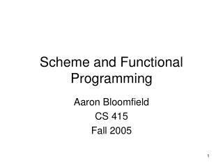 Scheme and Functional Programming