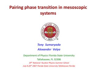 Pairing phase transition in mesoscopic systems