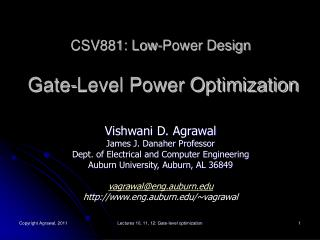 CSV881: Low-Power Design  Gate-Level Power Optimization