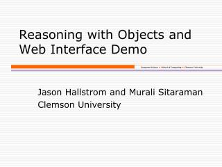 Reasoning with Objects and Web Interface Demo
