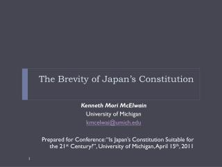 The Brevity of Japan's Constitution