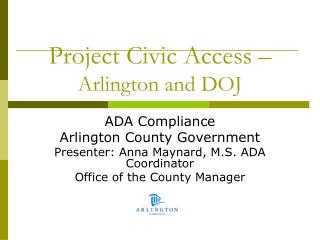 Project Civic Access – Arlington and DOJ