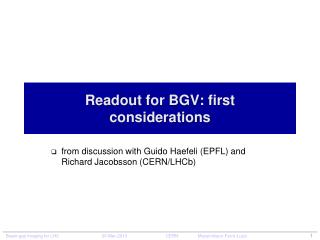 Readout  for BGV: first  considerations