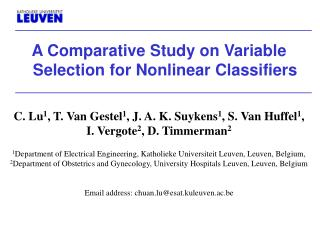 A Comparative Study on Variable Selection for Nonlinear Classifiers
