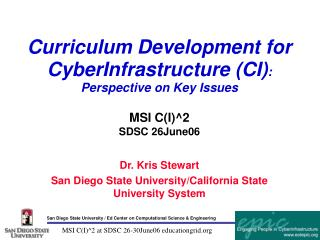 Curriculum Development for CyberInfrastructure (CI) : Perspective on Key Issues