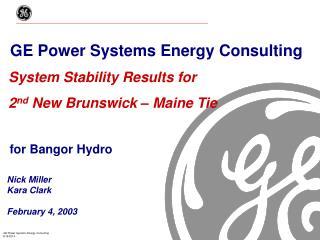 for Bangor Hydro