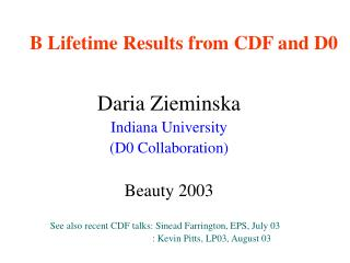B Lifetime Results from CDF and D0