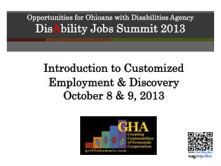 Opportunities for Ohioans with Disabilities Agency Dis A bility  Jobs Summit 2013