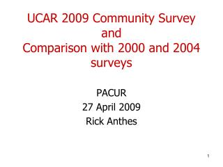 UCAR 2009 Community Survey and Comparison with 2000 and 2004 surveys