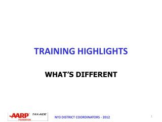 TRAINING HIGHLIGHTS