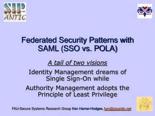 Federated Security Patterns with SAML SSO vs. POLA
