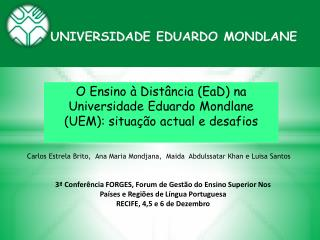 O Ensino à Distância (EaD) na Universidade Eduardo Mondlane (UEM): situação actual e desafios