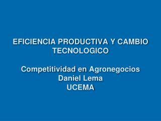 EFICIENCIA PRODUCTIVA Y CAMBIO TECNOLOGICO Competitividad en  Agronegocios Daniel Lema UCEMA