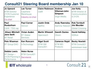 Consult21 Steering Board membership Jan 10