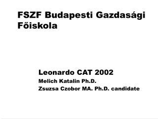 FSZF  Budapesti Gazdasági Főiskola