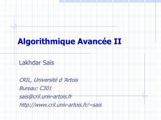 Algorithmique Avancée II