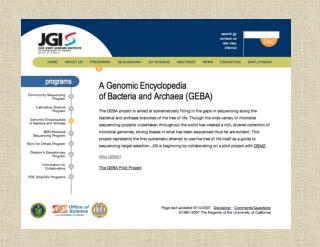 GEBA A genomic encyclopedia of bacteria and archaea